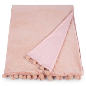 blush pink velvet throw with pom pom trim