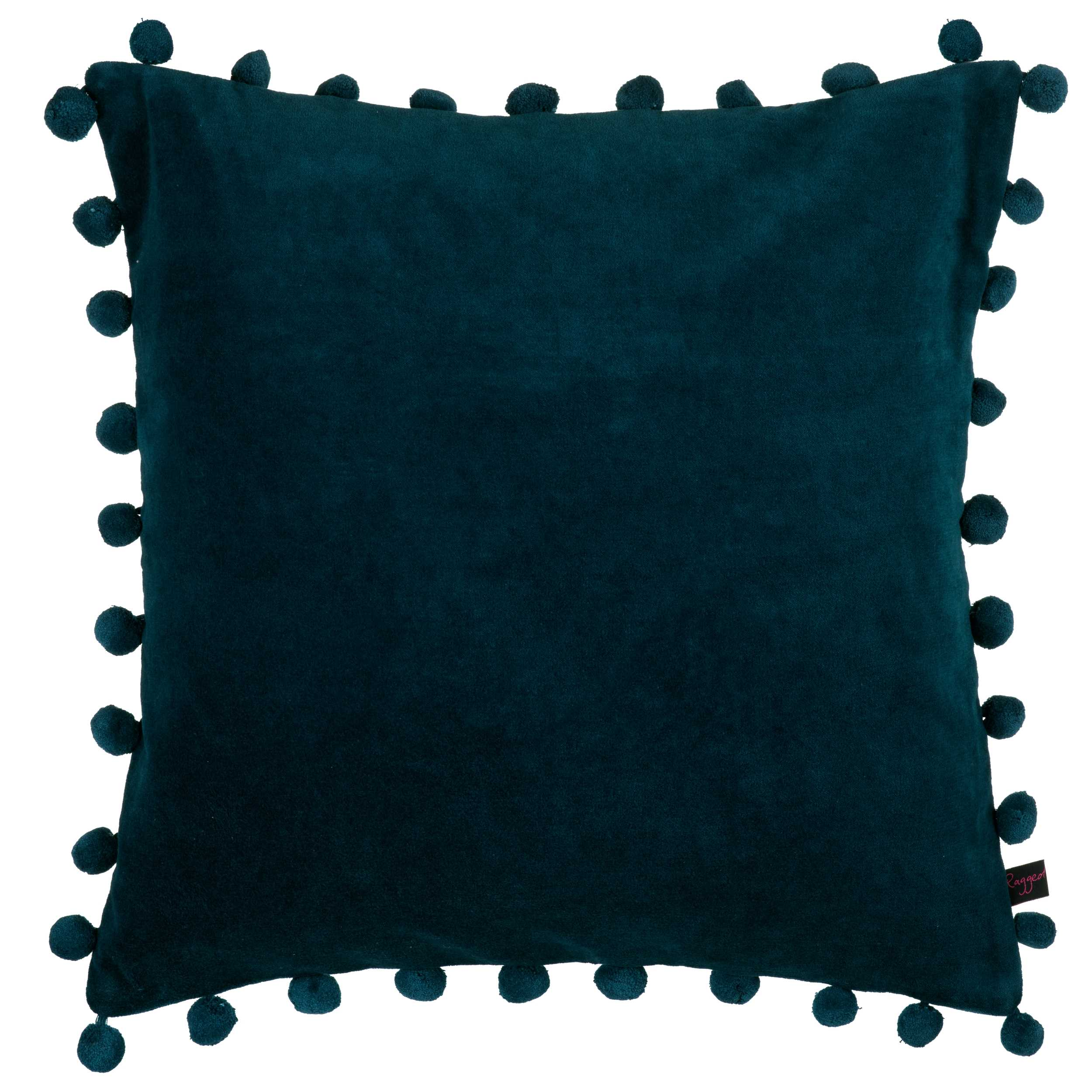 petrol blue velvet cushion