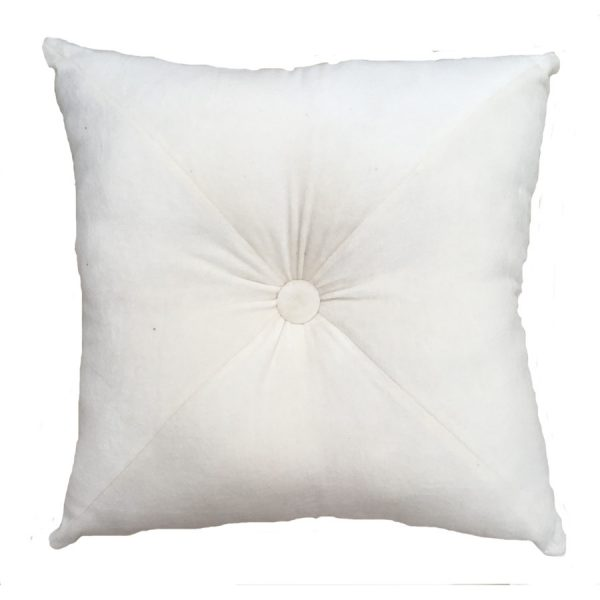 Ivory Velvet Button Cushion