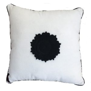 White Velvet Rose Cushion