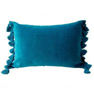 Teal Velvet Tassel Cushion
