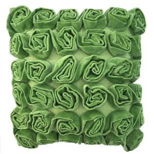 Green Ruffle Rose Velvet Cushion