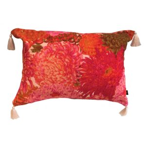 Chrysanthemum Velvet Tassle Cushion