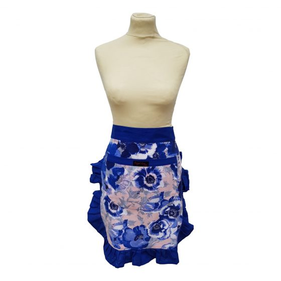 Tilly Apron Blue Anemones on mannequin