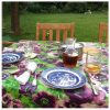 purple floral tablecloth
