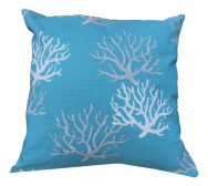 Turquoise Garden Cushion with Coral Print