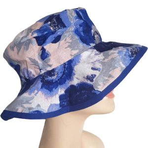 Cobalt Blue Cotton Floral Garden Hat