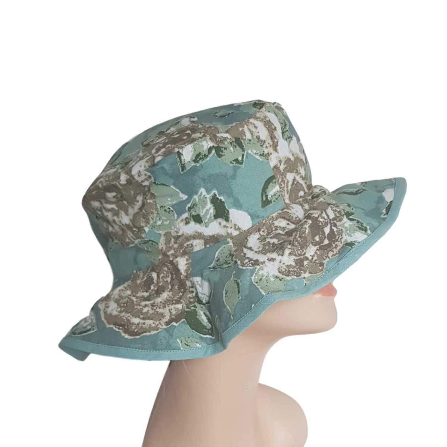 Duck Egg Blue Floral Garden Hat