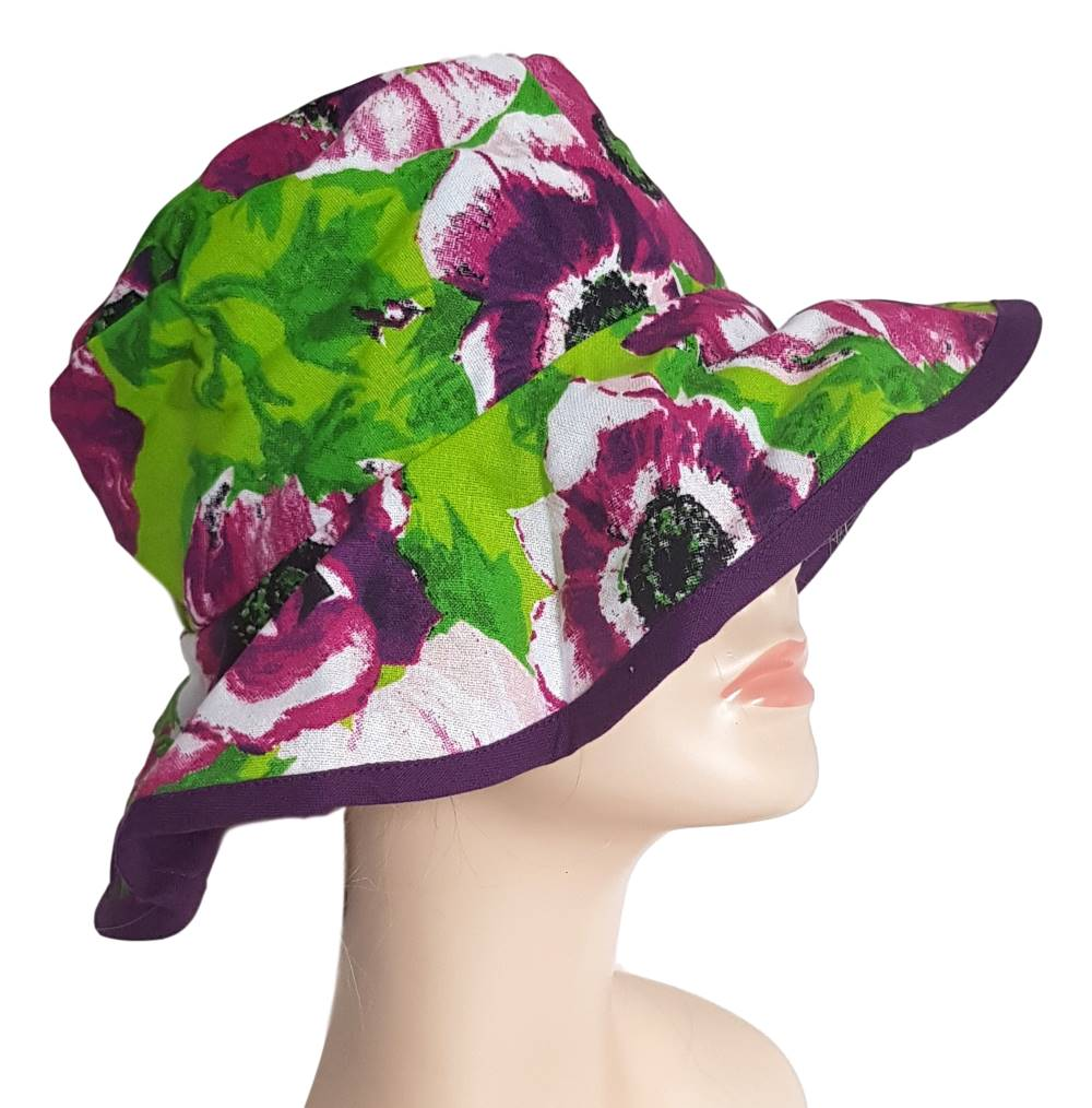 Purple Floral Cotton Garden Hat