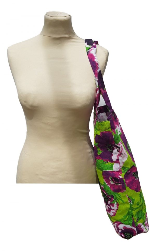 Purple Floral Fabric Shopper
