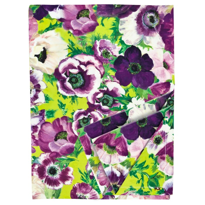 Purple Cotton Floral Tablecloth