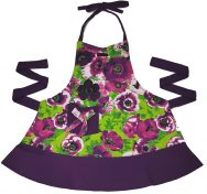 purple floral apron