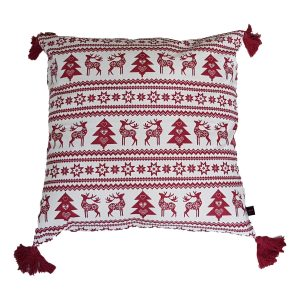 red reindeer christmas cushion