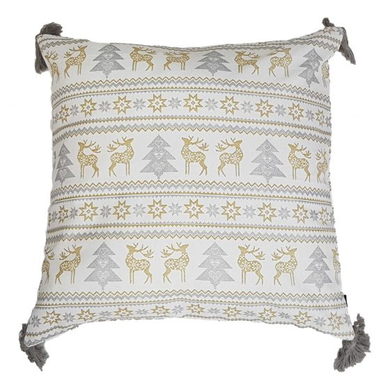 silver reindeer christmas cushion