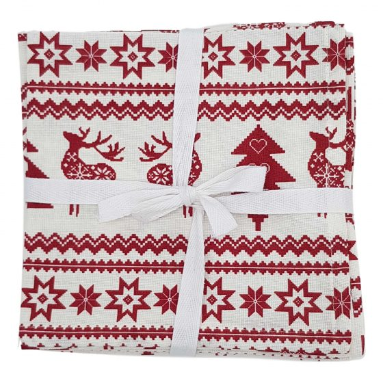 red reindeer christmas napkins
