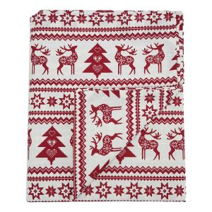 Red Reindeer Christmas Tablecloth