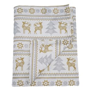 silver reindeer Christmas tablecloth