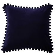 navy velvet pompom cushion