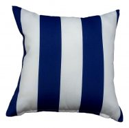 blue stripe showerproof garden cushion