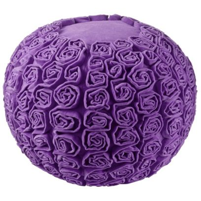 purple velvet pouffe