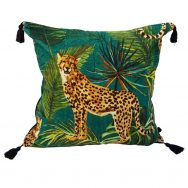 cheetah jungle print velvet cushion