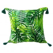 jungle green velvet cushion