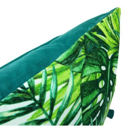 jungle leaves velvet cushion