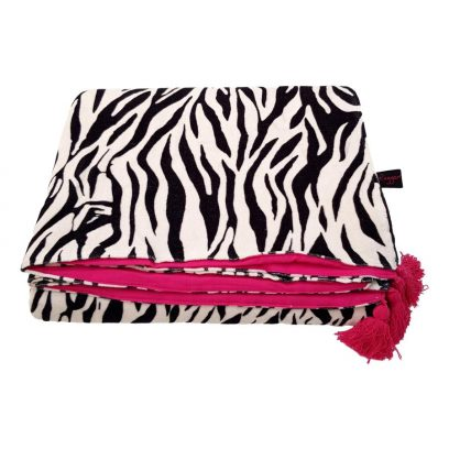 zebra velvet throw