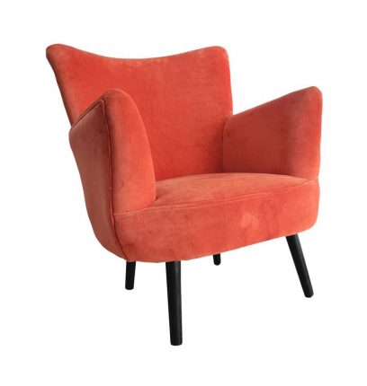 orange velvet armchair