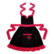 black and pink frilly apron