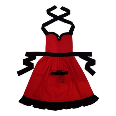 red and black frilly apron