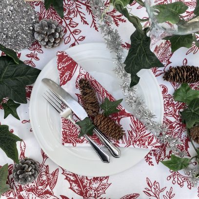 Red Holly Berry Christmas tablecloth