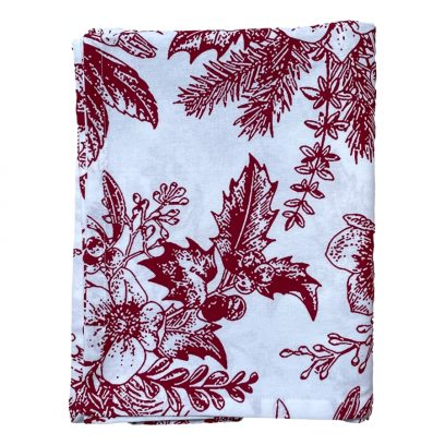 Holly Berry Red Christmas Tablecloth